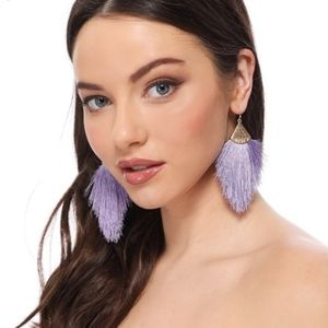 BOGO!New Silky Feather Tassel Fringe Gold Earrings
